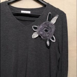 Sweaters - Grey Asymmetrical Sweater with Embellishment